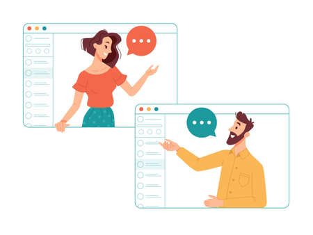 Man and woman communicating online via internet using video call application. Friends talking and laughing, business partners on conference. Working remotely, chatting people on teleconference vector
