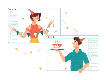People celebrating birthday party online during quarantine, congratulating girl with special day in internet. Man and woman with celebratory flags and cake with candle. Video call of friends vector