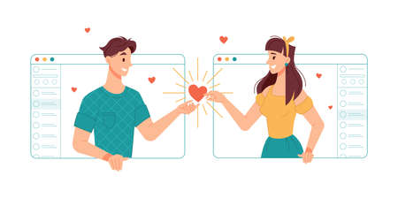 Boyfriend and girlfriend communicating online with help of internet and video call applications. Dating and match finder, love on distance, relationships and romance, chatting lovers in web vector