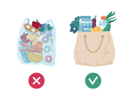 Pollution problem concept, using eco friendly textile totes of fabric cloth vs plastic transparent bag. Ecologically friendly grocery shopping and lifestyle. Zero waste, disposables recycling vector