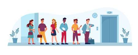 Queue to elevator in office, people waiting in line in public place, vector flat illustration. Business center or house elevator lift and people men and women standing in queue, impatient and hurry