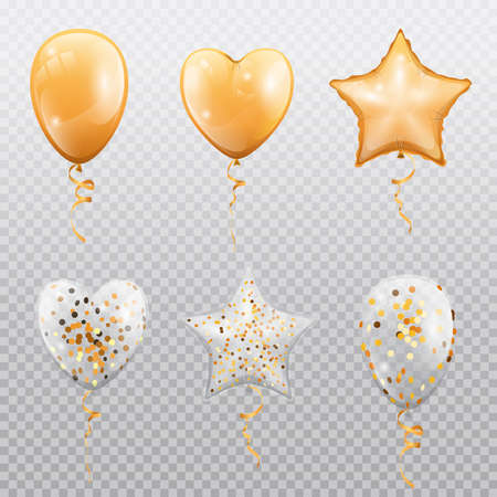Glossy balloons with confetti isolated on transparent background. Vector golden heart, star or circle shape balloon on spiral tape. Wedding, birthday party and festival fest holidays decoration
