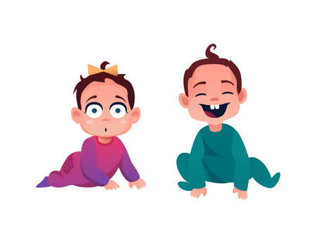 Baby boy and girl isolated cute toddler kids. Vector 7 or 8 month children, smiling cartoon infants in romper or jumper. Baby shower day characters, smiling lovely son and daughter with bow on head Иллюстрация