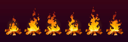 Animation of fire burn in 2d effect, cartoon vector background. Fire flames on wood or campfire and bonfire or fireplace icons in motion with smoke and heat, animation trap frame or storyboard Иллюстрация