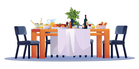 Table laid, festive dinner food dishes, drinks and chairs, vector. Family dining room or kitchen and restaurant laid table with party celebration lunch, breakfast or brunch meals, salads and wine