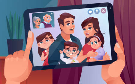 Video call or family chat on tablet with children and elderly parents. Video call chat on internet tablet or phone and smartphone in hands with family kids and grandparents, cartoon design