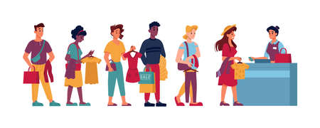 Queue in clothing store, people with clothes in hands in line to cashier, vector flat cartoon isolated. People shopping in queue, buying clothes at trade center at checkout counter, men and women wait Иллюстрация