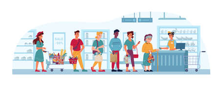 Store queue, supermarket or grocery, people in line to cashier, vector flat cartoon. People in queue buying and paying at shop checkout counter, man and old woman waiting with paper bags and baskets