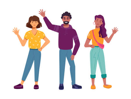 Positive multiethnic characters waving hands, isolated greeting multiracial people. Community of diverse ethnicity, nationalities and cultures. Multireligious society. Millennial man and women vector