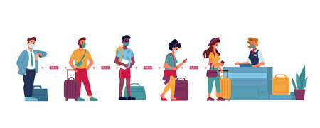 Airport queue, social distance people in masks standing at line to passport control, vector flat. Coronavirus Covid people social distance in airport counter check boarding or baggage lost claim desk Иллюстрация
