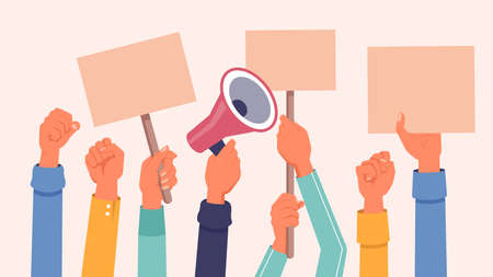 Hands with protest banners, placards and megaphone, vector flat background. Protester people hands holding banners or demonstration placards, social rights demonstration or manifestation strike