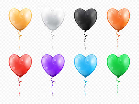 Balloons in shape of heart isolated set. Vector golden, black white, red purple, green blue heart-shape helium balloons. Valentines day and love holidays decoration, birthday and anniversary decor Иллюстрация