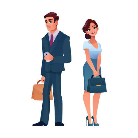 Mature businessman and businesswoman isolated cartoon adult people. Vector caucasian man in suit with tie, briefcase and smartphone in hands. Pretty slim woman on high heels in dress, leather bag Иллюстрация