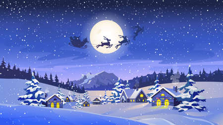 Reindeers pulling Santa Claus, winter scenery landscape, countryside houses with lights, snowy trees forest, mountains. Vector Christmas night, silhouette of deers with sleigh, Xmas eve greeting card Иллюстрация