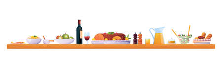 Holiday dinner on Christmas or Thanksgiving day isolated food and drinks on wooden table. Vector red wine in glass, apple fruits,ham meat of pork or lamb, jug of juice and salt with pepper species Иллюстрация