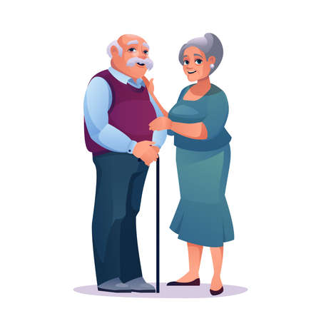 Elderly couple man with stick and pretty mature woman in dress isolated. Vector mature caucasian male and female, people on retirement, grandfather and grandmother in love. Romantic pensioners