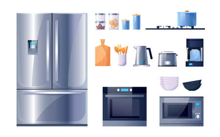 Kitchen utensils and appliances for cooking, vector flat icons set. Kitchen microwave, stove oven and refrigerator appliances, kitchenware, cookware and dishware utensils, glass jars and dish plates