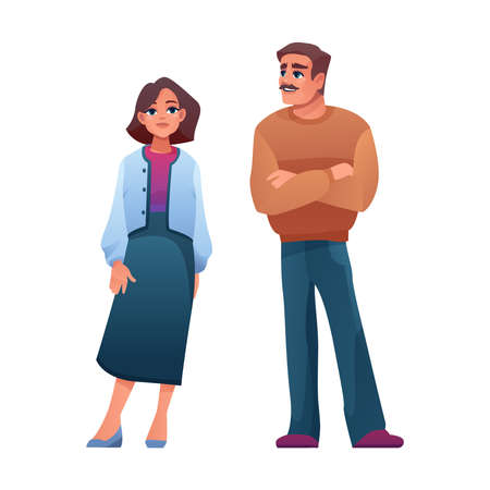 Elderly age man and woman isolated cartoon characters. Vector parents, mature people of middle aged. Businesswoman and businessman, male and female full length portrait. Adults in casual cloth