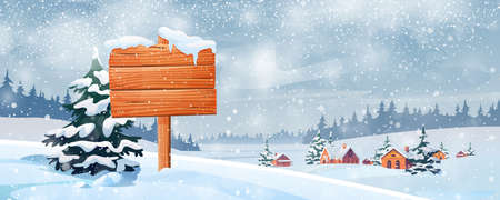 Snowy landscape and wooden sign board vector. Christmas time scenery, village in snow, forest and fir trees. Signboard information billboard, snowflakes, New Year or Xmas time at countryside