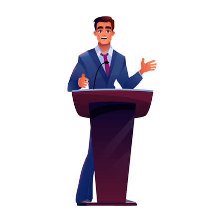 Speaker behind podium speaks into microphone vector cartoon isolate. President or politician giving speech at tribune with mic, leader presenter at conference, ceremony, presentation or debates