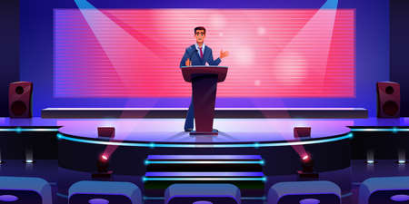 Stage with speaker at podium tribune, sitting rows, projection screen monitor display cartoon vector. Convention conference hall for concert, investment project presentation. Businessman giving speech Иллюстрация