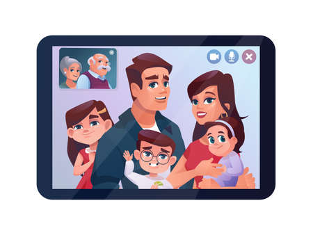 Video call, family chat on tablet or phone, vector cartoon illustration. Children and father video call on quarantine, couple with kids chatting on internet tablet with grandparents, isolated