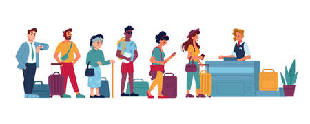 Airport queue to counter check, people in line vector flat isolated icons. People standing, waiting in queue to airport boarding gate, passport control, flight registration desk or lost baggage claim Иллюстрация