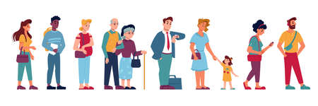 People crowd in queue line standing and waiting, vector flat isolated. People group in queue row, pregnant woman, old man with kid child, cartoon icons of people in line in hurry or impatient