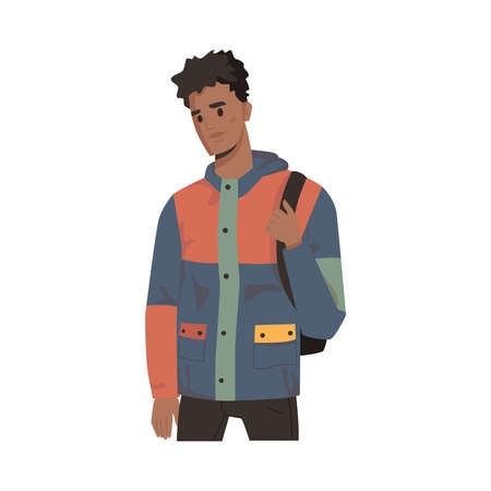 African American man in jacket with backpack isolated college or university student. Vector businessman in casual cloth, handsome male portrait. Multicultural character flat cartoon style, urban guy Иллюстрация
