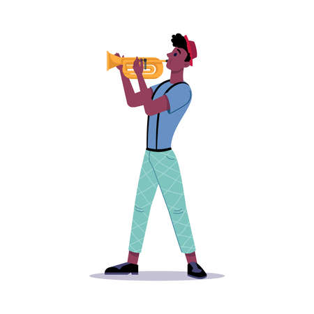 African american man playing on trumpet isolated. Vector musician or musical performer plays jazz blues music. Band player artist in hat and casual cloth plays on blowing instrument, street trumpeter