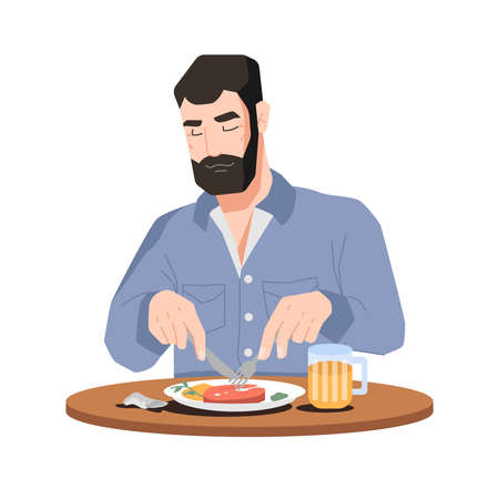 Bearded man eating meat and drinking beer isolated flat cartoon character. Vector male person sitting and cutting pork or lamb with fork and knife. Tasty dinner, food and drinks, guy in restaurant Иллюстрация