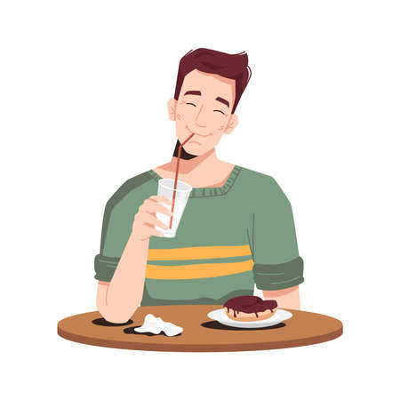 Boy enjoying milkshake and cake isolated person in casual cloth, flat cartoon. Vector caucasian guy eats dessert, tasty sweet food drinks on wooden table or board. Hungry man has snack at restaurant