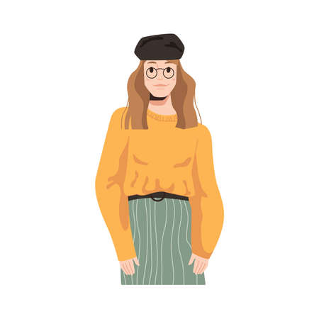 Fashionable french woman in glasses and hat isolated stylish girl in flat cartoon style. Vector female autumn casual look, parisian girl in beret, sweater and skirt. Caucasian lady in vogue apparel