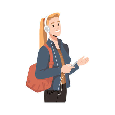 Blonde woman in headphones and smartphone with bag isolated flat cartoon character. Vector pretty caucasian girl listening to music by phone. Student girl in fashion casual cloth with earphones