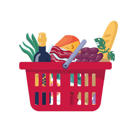 Full plastic red food basket isolated grocery products flat cartoon. Vector meat and cheese, fruits and vegetables, grapes and bakery bread, bottle of wine. Fresh retail goods delivery, consumer bag