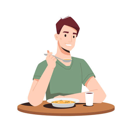 Happy guy eating dinner isolated flat cartoon person eating soup first course and drinking juice. Vector smiling man enjoying tasty snack in restaurant sitting at wooden table, hot coffee in glass