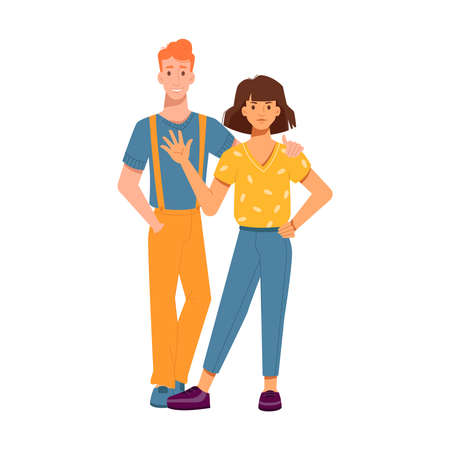 Guy hugs girl by shoulder, girl waving hand and greeting people isolated characters in flat-cartoon. Vector couple redhead man and brunette woman in love, hugging friends, dating teenagers embracing Иллюстрация