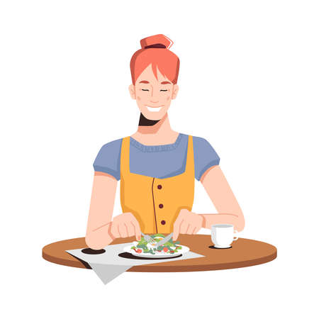 Happy caucasian girl eating salad isolated flat-cartoon person dining at restaurant or at home. Vector red haired lady on diet enjoys cut vegetables, drinking juice, tea or coffee at wooden table Иллюстрация