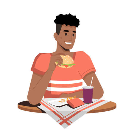 Happy african american eating hamburger, french fries and drinking cola or soda isolated flat cartoon person. Vector afro-american guy sitting at table with napkin and enjoying fast food snacks