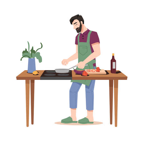 Happy guy fries food isolated flat cartoon man cooking dinner on stove-oven at wooden table with pot plant. Vector isolated bearded man, pan and vegetables on cutting board, sauce, eggplant and pepper Standard-Bild - 156922636