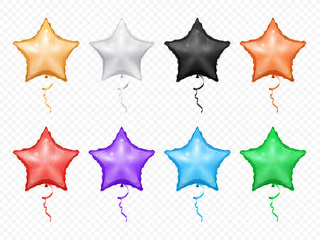 Balloons in shape of stars isolated set. Vector red purple, green blue, golden, black white heart-shape helium balloons. Birthday and anniversary decor, Valentines day and love holidays decoration