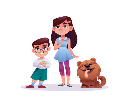 Children with cute dog isolated on white. Vector cartoon preschool boy in glasses with ball and girl schooler and their favorite puppy pet showing tongue. Brother and sister with animal friend