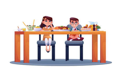 Preschool children eat food isolated. Vector boy and girl sitting in chairs at table, eating meal. Salad and meat, ham and bakery, spices and juice. Smiling caucasian kids at lunch, time to have snack