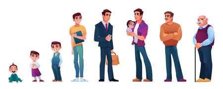 Character of man in different age. Vector baby, child, teenager adult and mature person, elderly male on retirement. Life circle, generation of people and stages of growing up. Aging process of person Иллюстрация