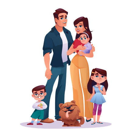 Young family mother, father, preschool boy and girl, newborn baby and dog pet isolated cartoon characters. Toddlers, man and woman, dad and mom parents. Children and happy couple together parenthood Иллюстрация