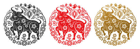 Metal Ox zodiac signs in flower circles of golden, black and red color. Vector Happy Chinese New Year greeting card papercut decor, lunar holiday celebration. Chinese CNY 2021 symbol, Taurus