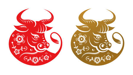 Golden metal ox zodiac sign, head with flowers isolated icons. Vector CNY Chinese New Year symbol, Taurus horoscope zodiac sign. Bull animal portrait and blossoms with leaves, horned buffalo