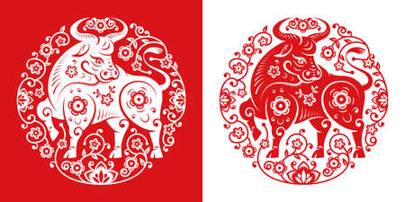 CNY 2021 Metal ox symbol in papercut flower circle, white and red. Vector bull, zodiac sign Chinese New Year mascot, horned animal in oriental calendar, greeting card design. Peony blossoms around ox
