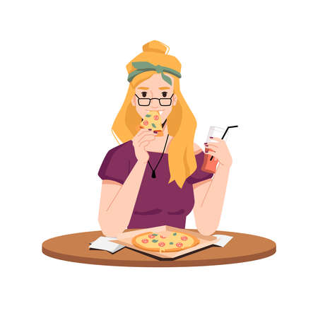 Happy blonde woman eats pizza and drink juice from glass with straw isolated flat cartoon vector. Girl in glasses eating traditional Italian food, pepperoni in paper package on wooden table, napkins Иллюстрация