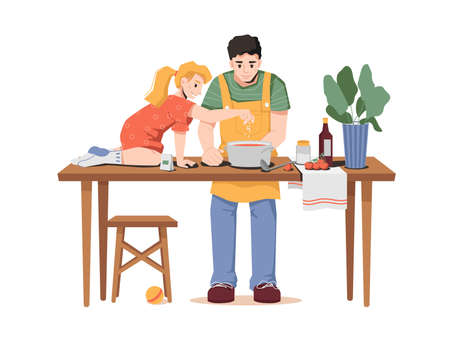 Daughter helps dad with cooking isolated father and little girl. Vector dad and small girl cooks borsch together, puts salt in soup, sitting on table. Tomatoes, sauce and plant in pot on desk
